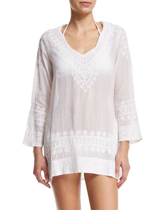 Cap Cana Embroidered Tunic Coverup, White