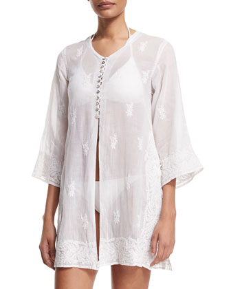 Kuta Button-Front Embroidered Tunic Coverup, White