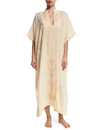 Topazz Embroidered Long Caftan Coverup, Antique