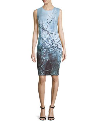 Gwenyth Sleeveless Sheath Dress, Atlantis