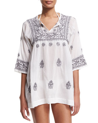 Andronis Half-Sleeve Embroidered Tunic Coverup, White/Frost