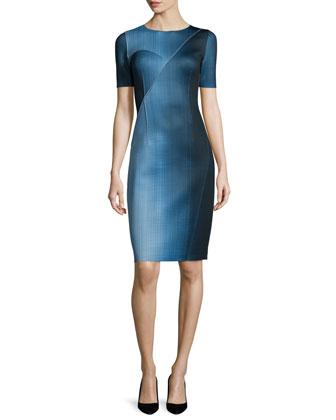 Carmen Short-Sleeve Digital-Print Sheath Dress, Atlantis