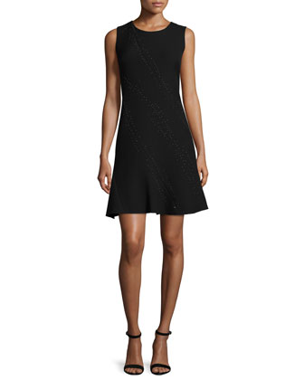 Harlow Sleeveless Fit-&-Flare Dress, Black