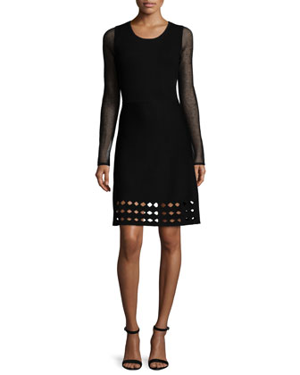Zita Long-Sleeve Sheath Dress W/Cutouts, Black