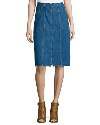 Jolla Zip-Front Denim Skirt, Blue Chambray