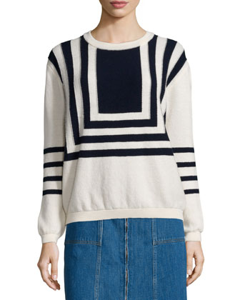 Breton Two-Tone Sweater, Black/White