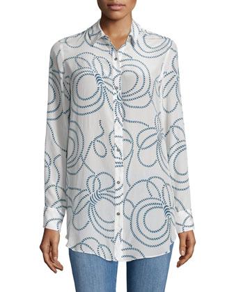 Long-Sleeve Simple Shirt, Rope Print Salty