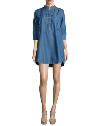 Angie Chambray Dress W/Scalloped Detail, Blue