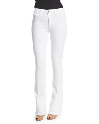 Marrakech Bodycon Flare-Leg Jeans, Power White