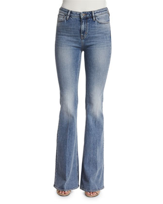 Stevie High-Waist Flare-Leg Jeans, Berg Wash