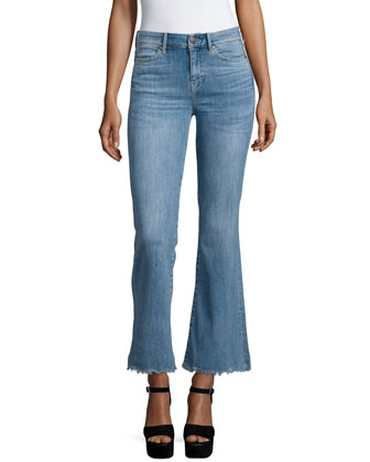 Lou Flare-Leg Cropped Jeans, Scallop