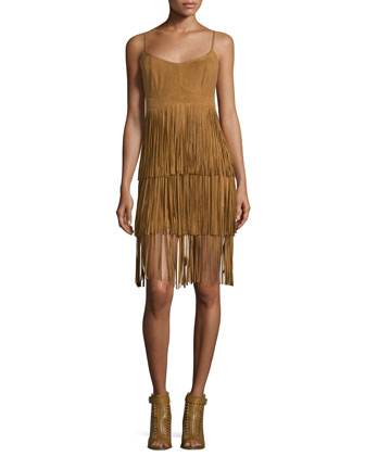 Sleeveless Tiered-Fringe Suede Dress, Tan