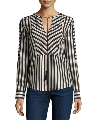 Mairi Long-Sleeve Striped Blouse, Dot Stripe Dark