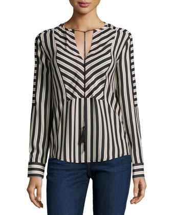 Mairi Long-Sleeve Striped Blouse, Dot Stripe Dark