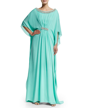 3/4-Sleeve Embellished Caftan Gown, Turquoise/Gold
