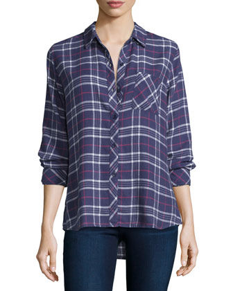Danielle Button-Front Plaid Shirt, Dusk/Rose