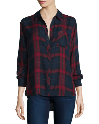 Hunter Plaid Long-Sleeve Shirt, Cabernet/Navy