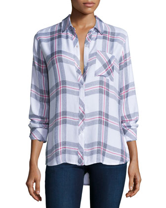 Hunter Plaid Long-Sleeve Shirt, White/Fog