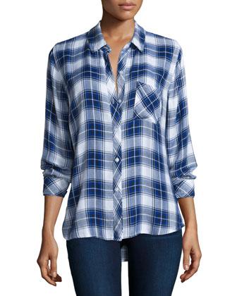 Hunter Plaid Long-Sleeve Shirt, White/Cobalt