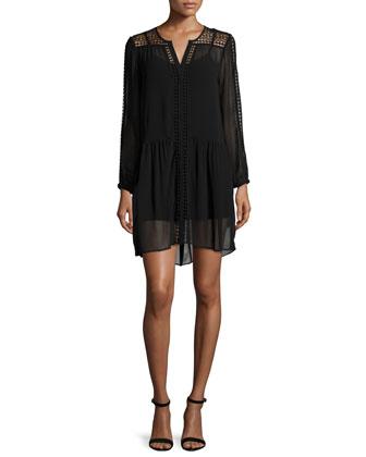 Oshea Long-Sleeve Shift Dress, Caviar