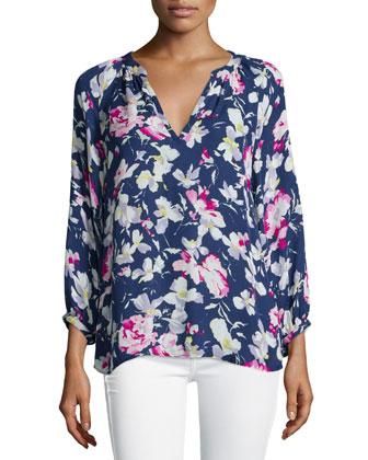 Mckenna Floral-Print Silk Top