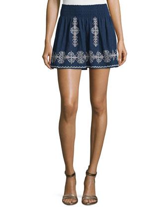 Almanza Embroidered Cotton Skirt