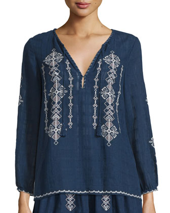 Lemay Embroidered Split-Neck Top