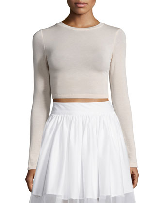 Jaylene Cropped Crewneck Top, Pink