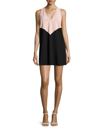 Maya Colorblock Racerback Dress, Black/Blush