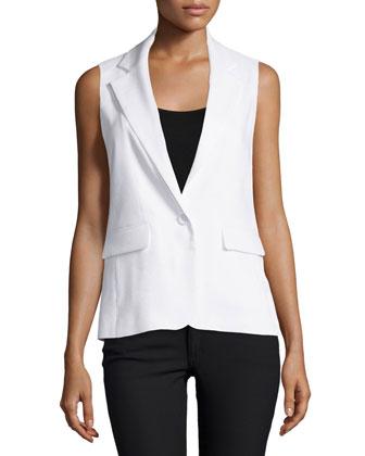 Lorelei Single-Button Vest, White
