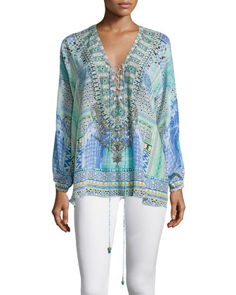 Long-Sleeve Lace-Up Shirt, Sultans Gate