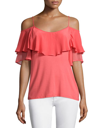 Sandrine Cold-Shoulder Top, Chili