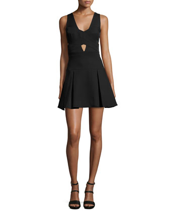 Harlie Sleeveless Fit-&-Flare Dress, Black