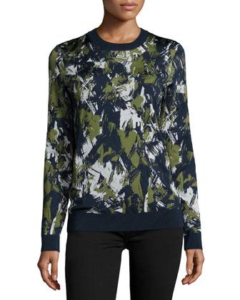 Long-Sleeve Printed Pullover, Navy/Basil/Chalk
