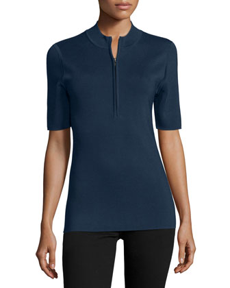 Short-Sleeve Quarter-Zip Top, Navy