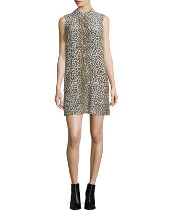 Lucida Sleeveless Button-Front Shirtdress, Nude/Multi
