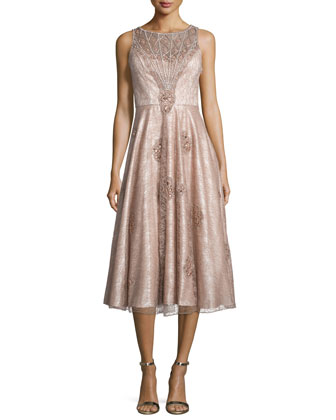 Sleeveless Lace Midi Cocktail Dress