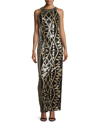 Beaded Geometric-Print Column Gown