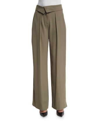Envelope-Waist Wide-Leg Trousers, Army