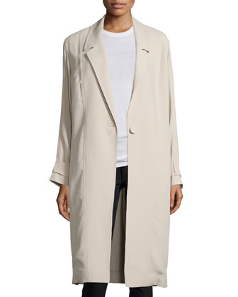 One-Button Long Trenchcoat, Limestone