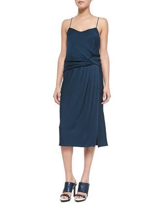 Draped Satin-Back Crepe Dress