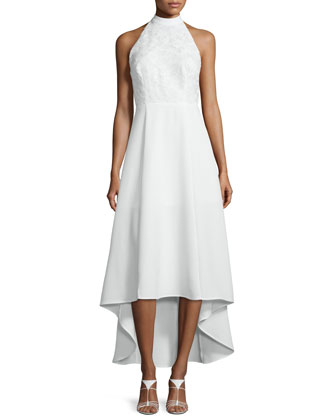 All Talk Halter-Neck High-Low Dress, Ivory