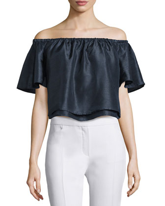 Foundations Off-The-Shoulder Top, Navy