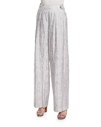 Side-Button Wide-Leg Trousers, Platinum