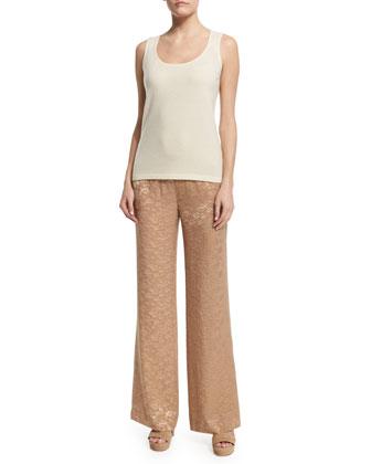 High-Waist Wide-Leg Pants, Nude