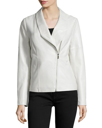 Asymmetric Zip-Front Leather Jacket, White