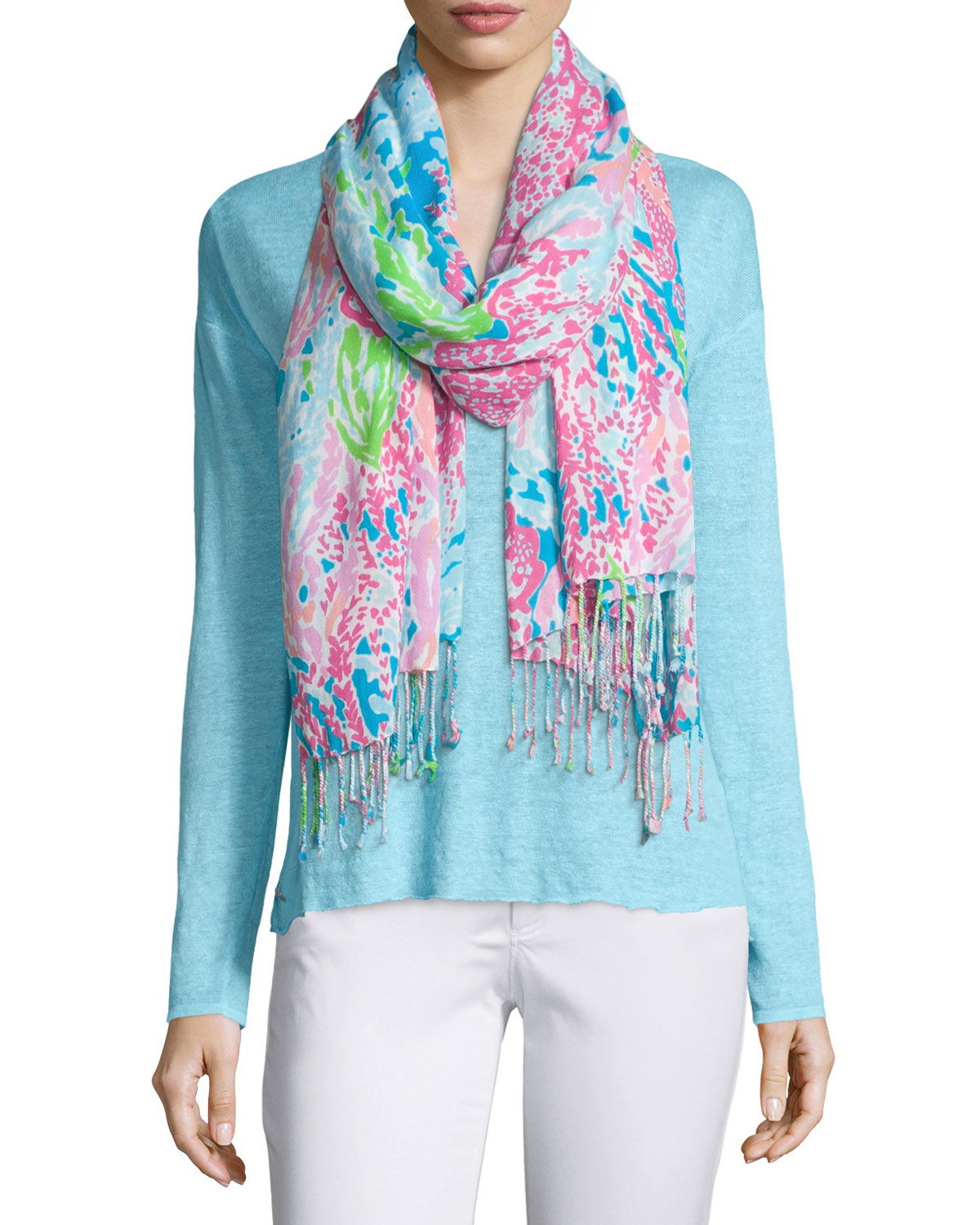 Lilly Printed Scarf, Turquoise - Lilly Pulitzer