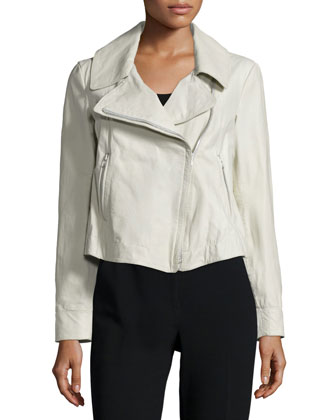 Zip-Front Leather Jacket, Platinum