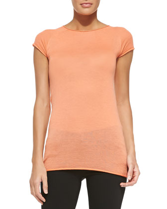 Cashmere Short-Sleeve Crewneck Top
