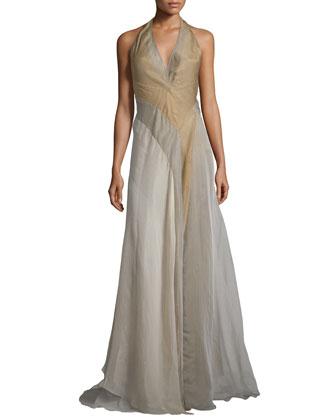 Halter-Neck Tricolor Evening Gown, Vermeil